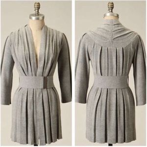 Anthropologie Moth Puckered Pleated Gray Sweater